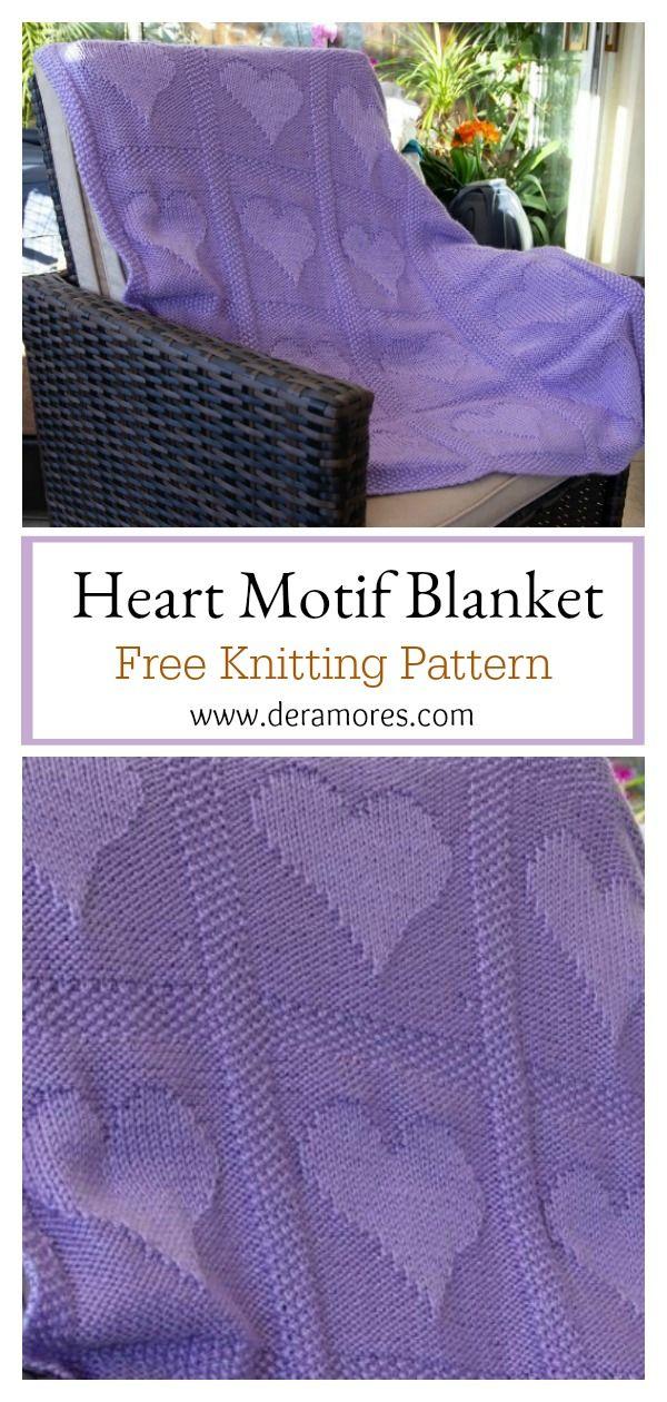 Patrón de tejer sin manta con motivo de corazón