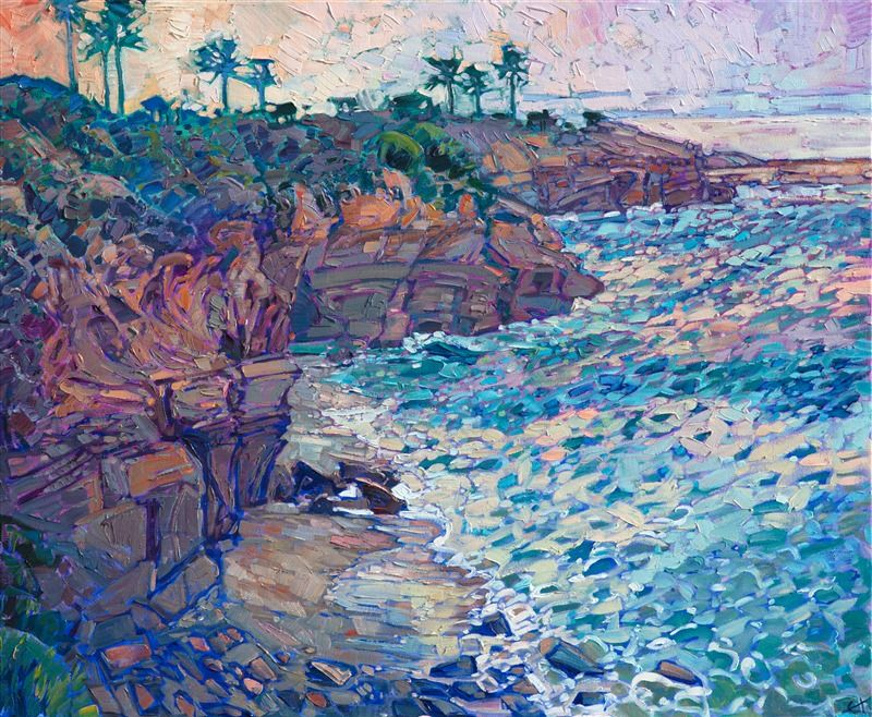 Abstract Impressionist Landscape Oil Painting Of La Jolla Cove By San Diego Artist Erin Hanso Impressionist Landscape Oil Painting Landscape Coastal Landscape