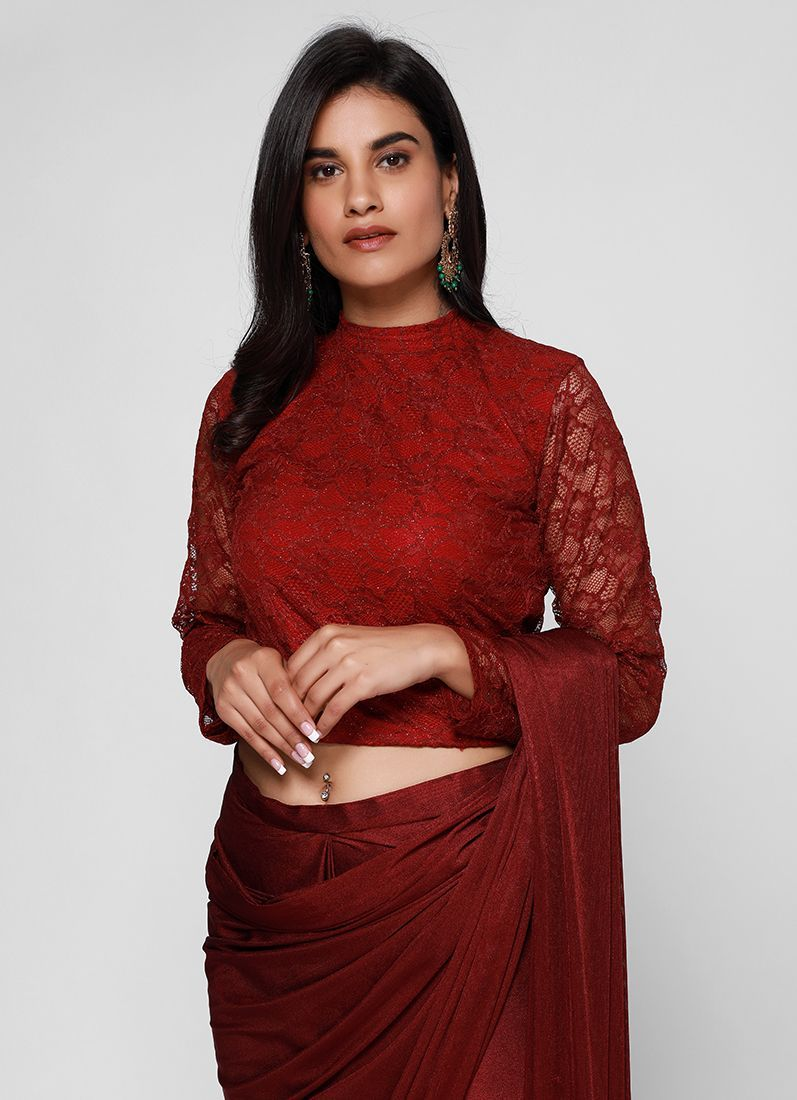 268e1cd3210f7 Buy Maroon Lycra Lace Blouse Stitched Saree - Asian Clothing - Diya Online Maroon  Lycra Lace