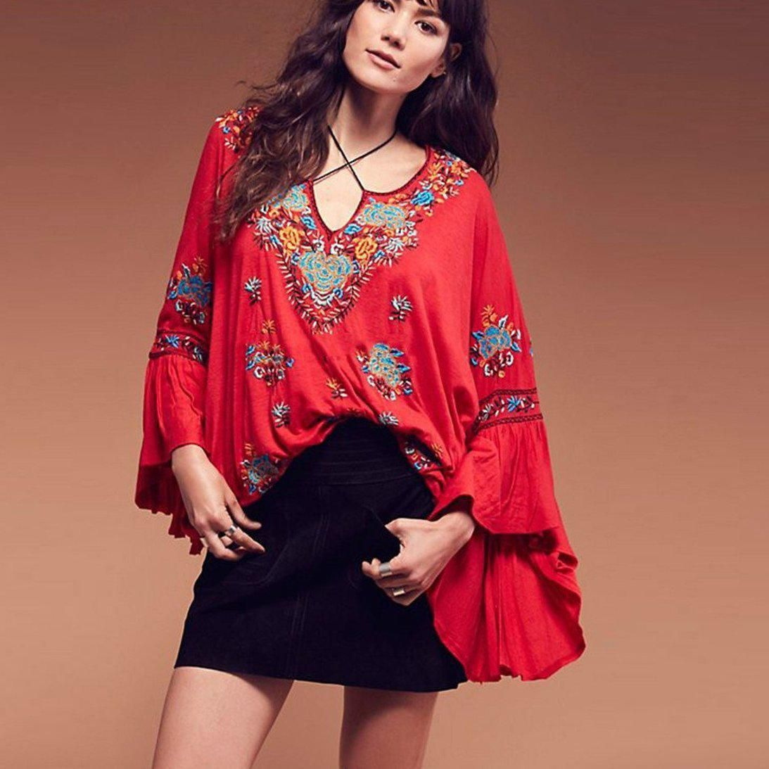 ea3928ec8f0a0 Siren Song Top Women Vintage Embroidery Floral Ruffle Cuffs V-Neck Plus  Size Loose Shirt Tops Boho