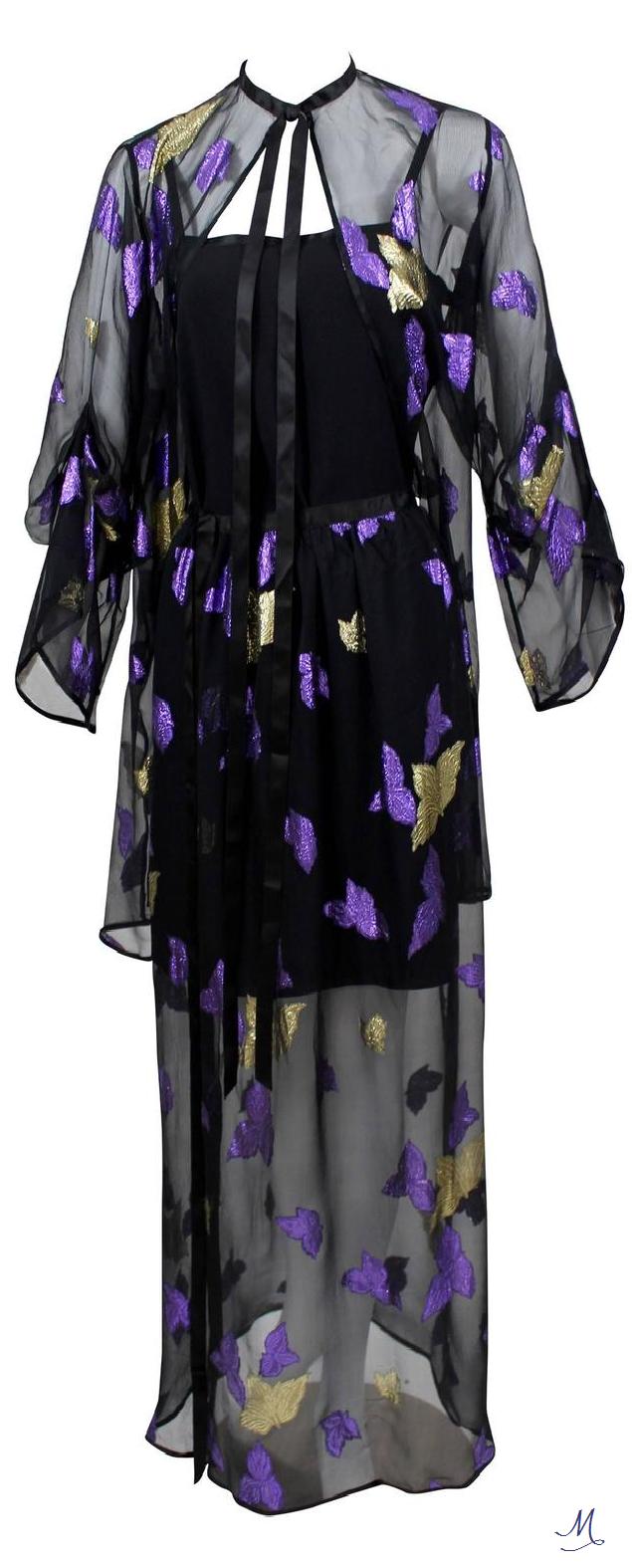 814097b8e9b5 1978 Yves Saint Laurent Stunning Silk Metallic Leaf Dress Set   Mode ...