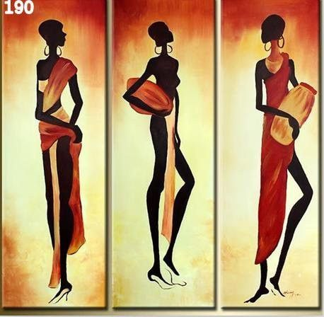 Framed 3 Piece African Women Wall Art Canvas Set Sale Free Shipping African Women Painting Woman Painting Modern Art Abstract