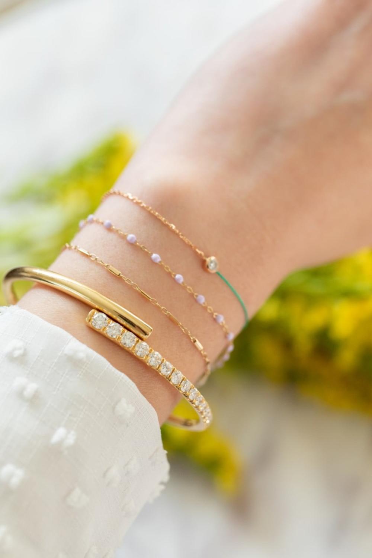 Lola Cuff Bracelet Partial Diamond in Yellow Gold