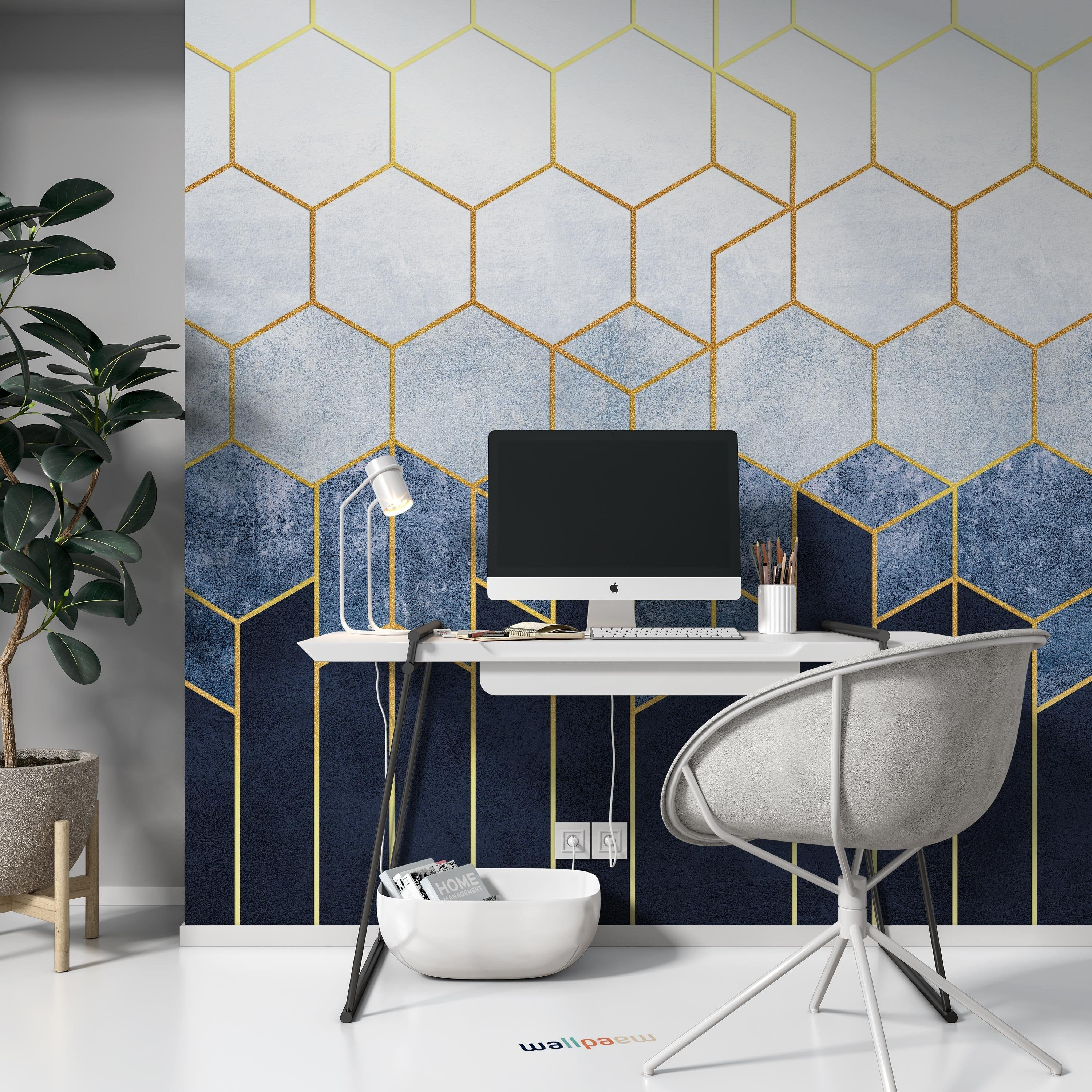 Geometric Abstraction Of Hexagons On A Blue Background With Etsy Blue And Gold Bedroom Living Room Murals Blue And Gold Wallpaper