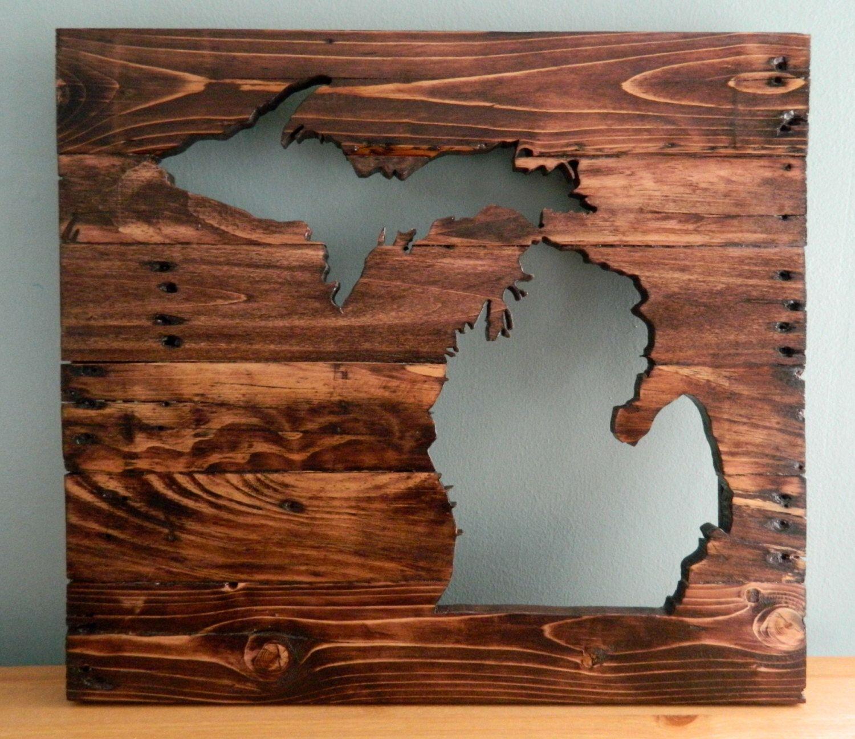Michigan cutout silhouette wall art reclaimed wood wall hanging