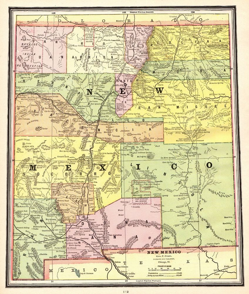 1902 Antique NEW MEXICO Map Gallery Wall Art Map of New Mexico State ...