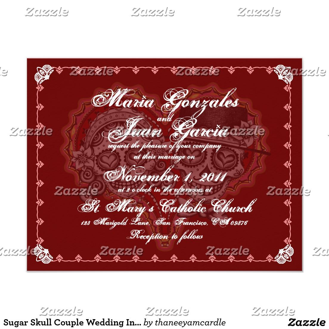Sugar Skull Couple Wedding Invitations | Couples and Wedding
