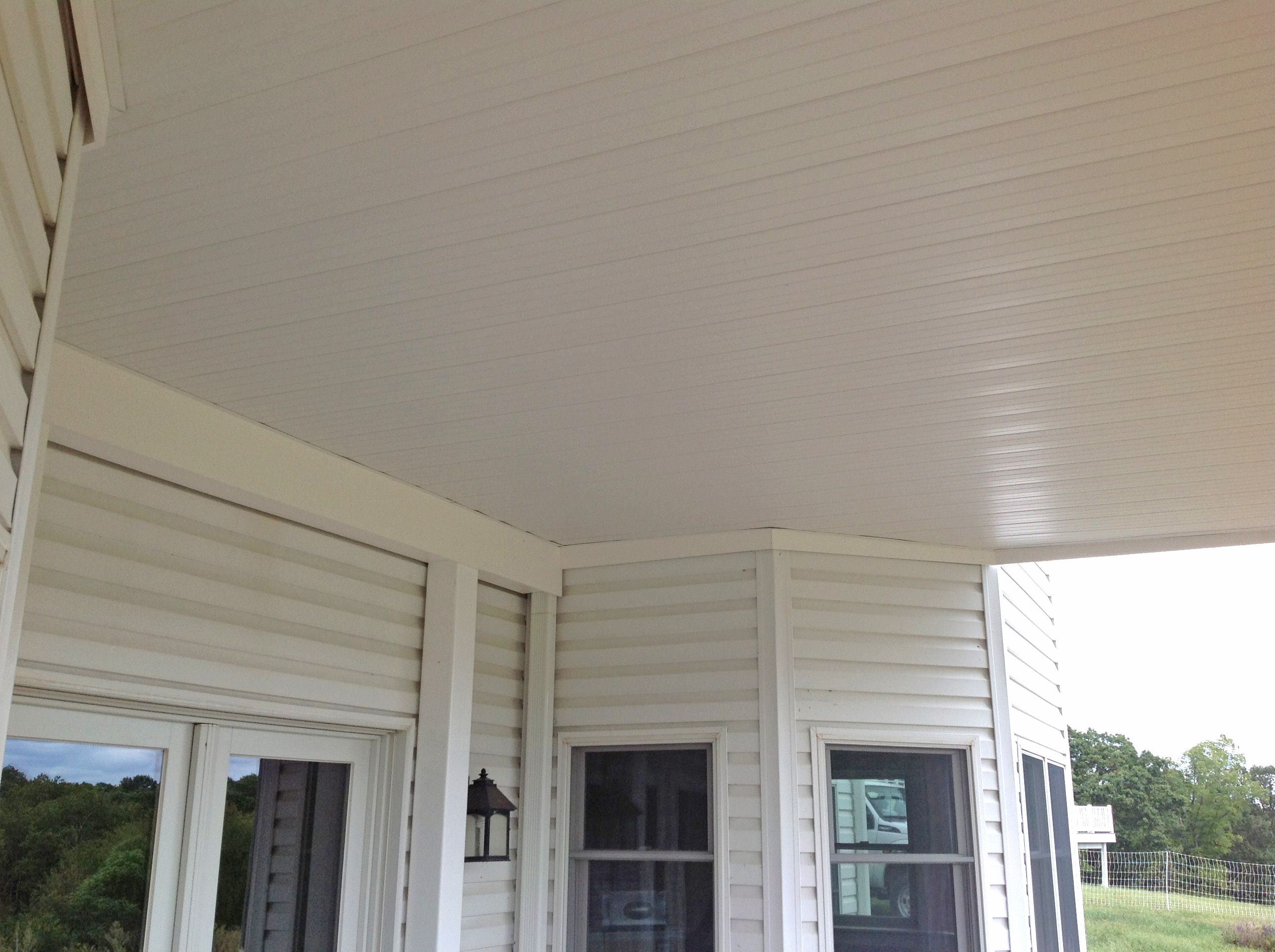 Vinyl ceiling panels by Dry Snap for under the deck