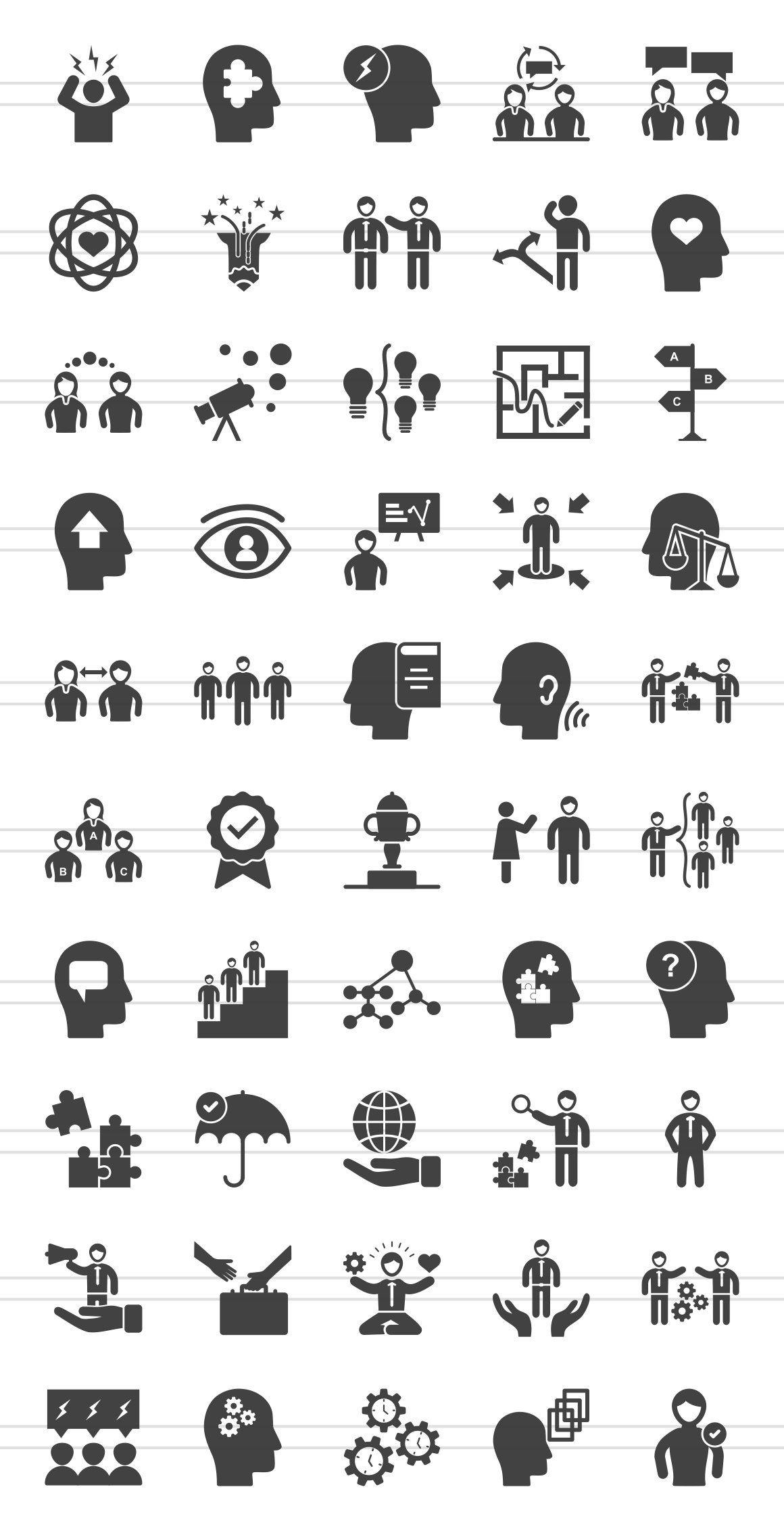 50 Soft Skills Glyph Icons Soft Skills Influencing Skills Glyph Icon