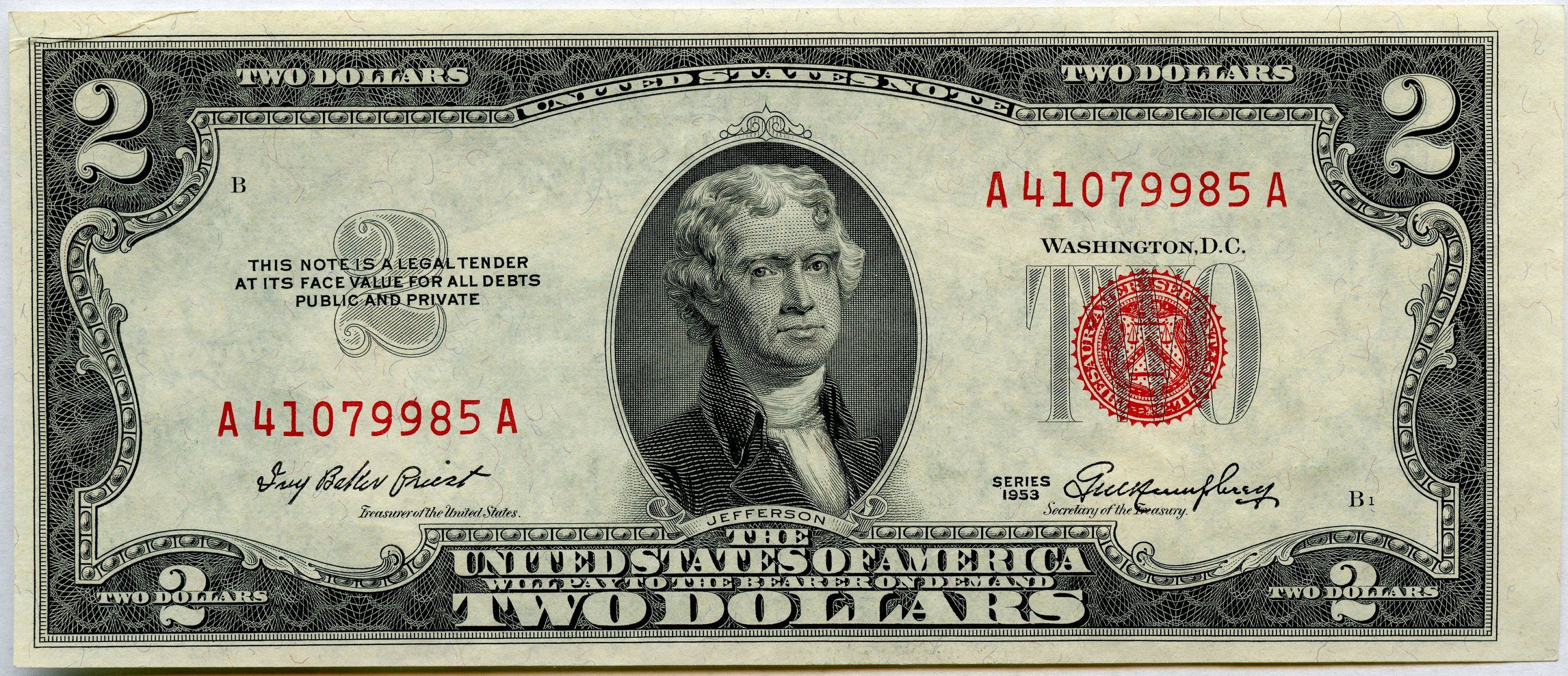 1953 Two Dollar U S Note Legal Tender A41079985a F1509 Etsy Two Dollars 2 Dollar Bill 2 Dollar Bill Value
