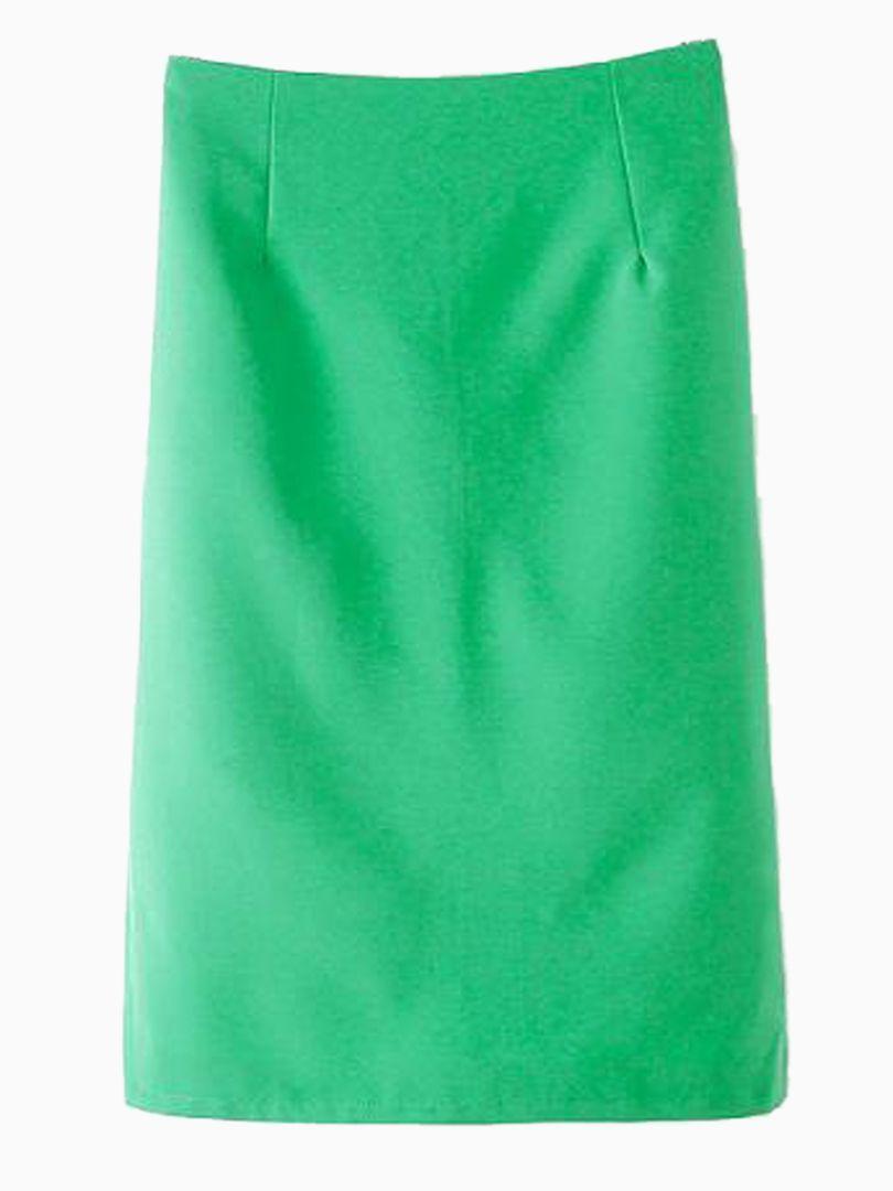 Green Back Slit Pencil Skirt   Choies
