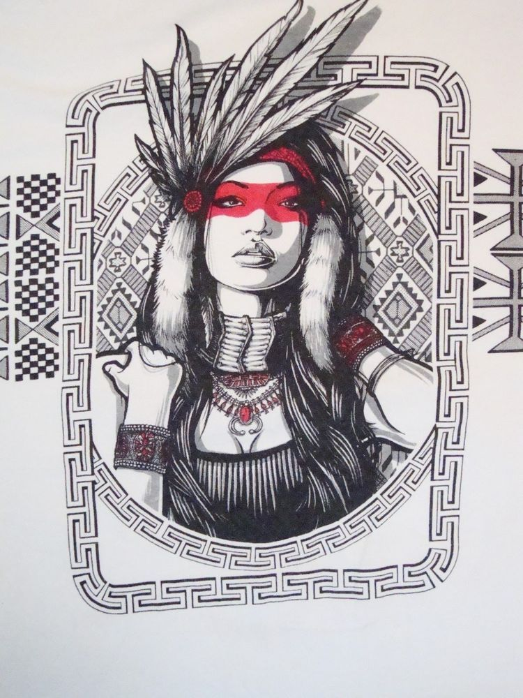 Indian Native American Hipster Girl Pinup Pin-up T Shirt XL #Gildan ...