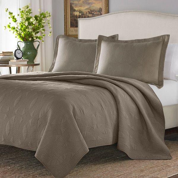 Stone Cottage Arbor Taupe Cotton 3-piece Quilt Set