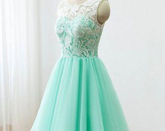 $88 Custom Lace Tulle Bridesmaid dress Prom Dress Mint Green Dress ...