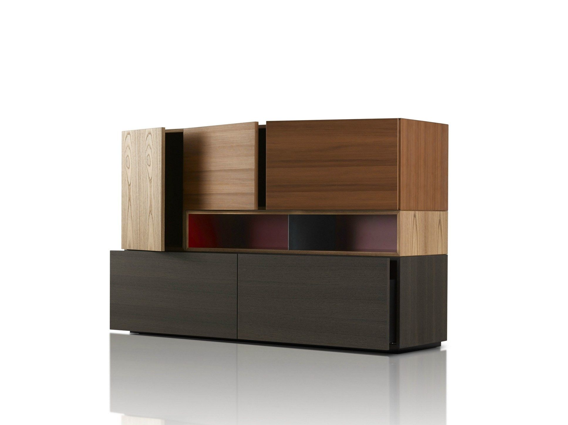 Highboard Design wooden highboard with doors modern collection by porro design