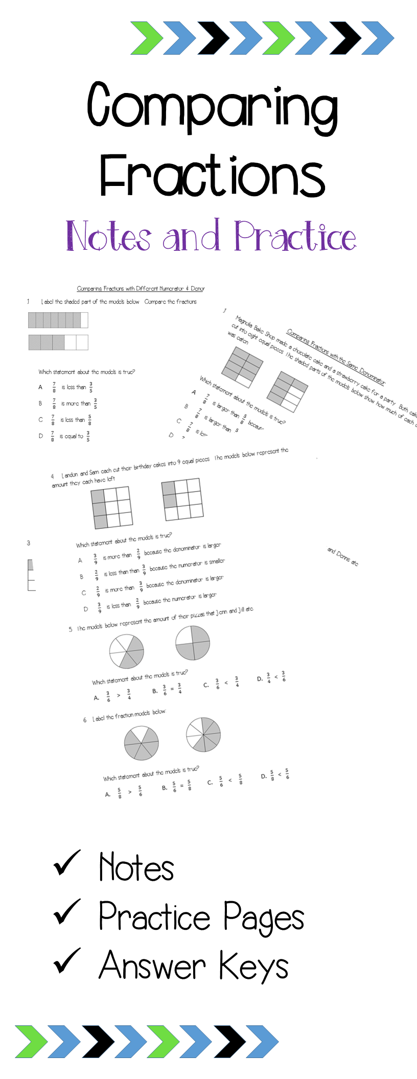 Comparing Fractions Notes & Practice Grades 2-4