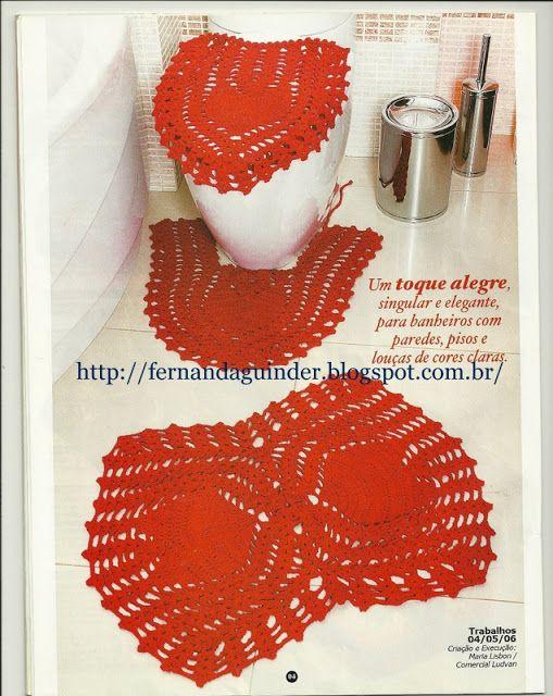 6164b5063 Fernanda Guinder  Jogo de tapete para banheiro em barbante vermelho ...