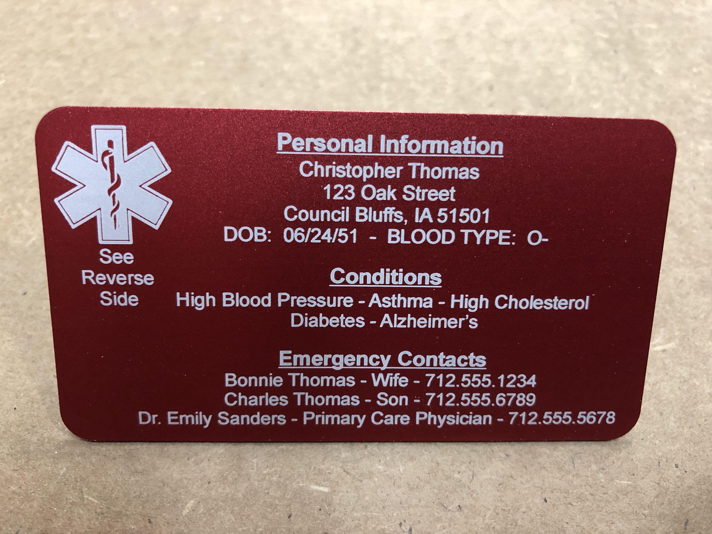 Medical alert card medical id card medical id tag