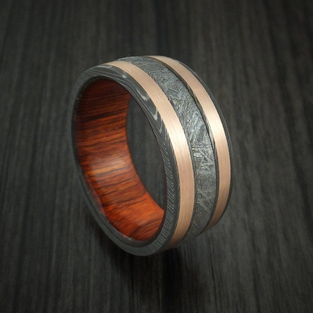 Damascus Steel and Gibeon Meteorite Ring with Copper