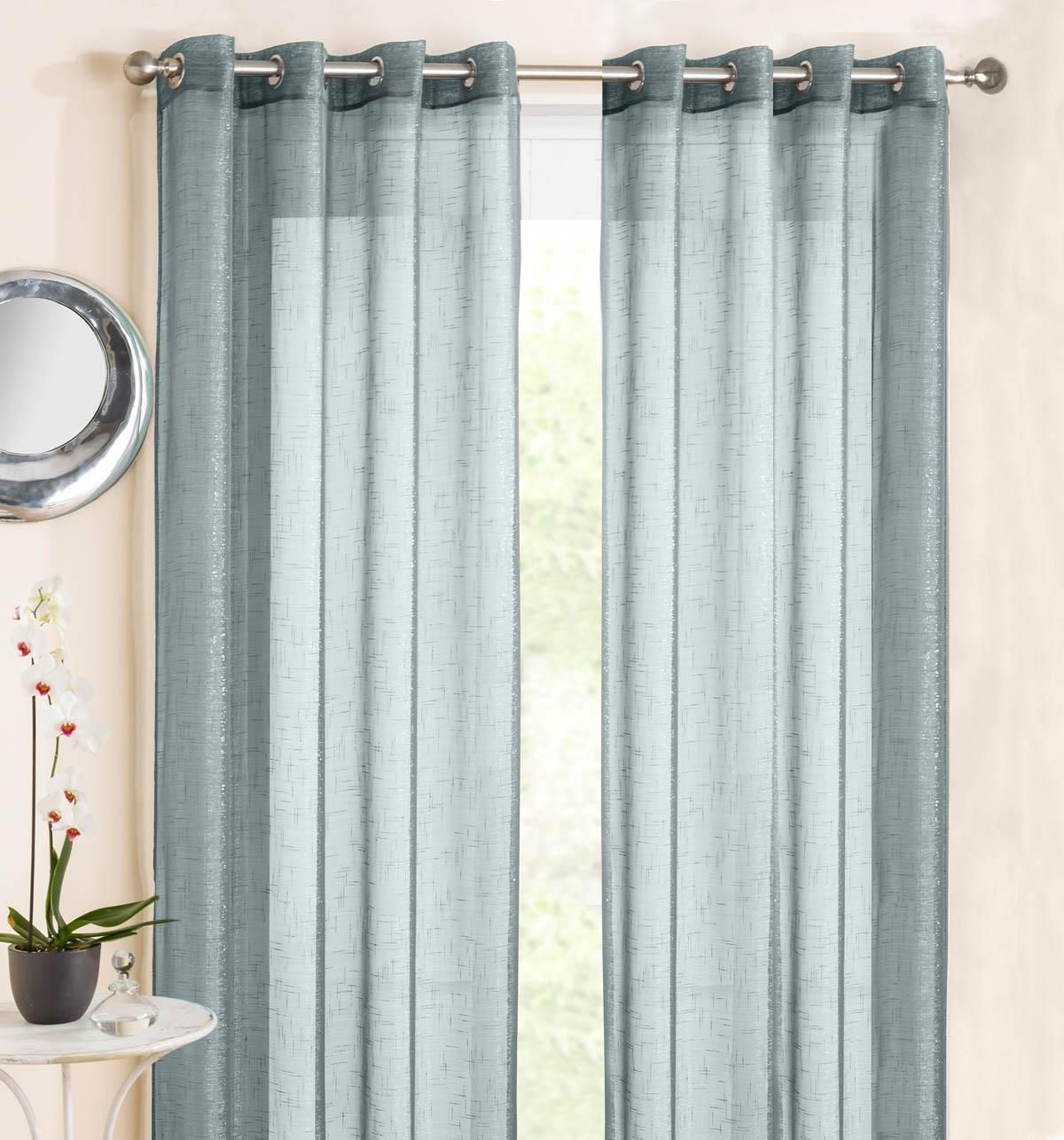 Marrakesh Eyelet Voile Panel Duck Egg Blue | Affordable Curtain ... for Grey And White Voile Curtains  146hul