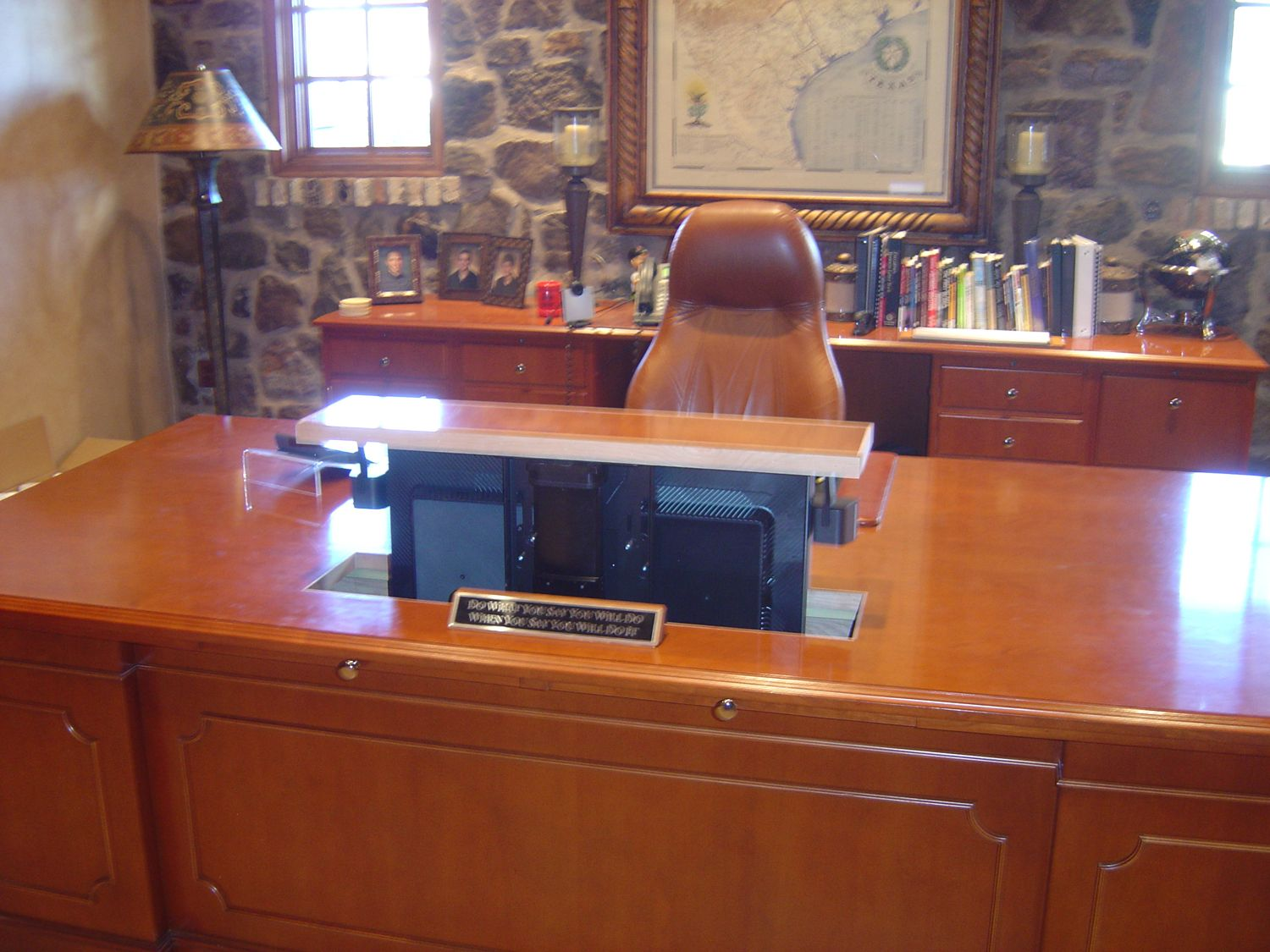Hidden Computer Monitor In An Executive Desk