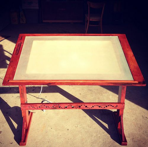 Nice Antique Inspired Drawing Table W/ Built In Lightbox #art #desk #