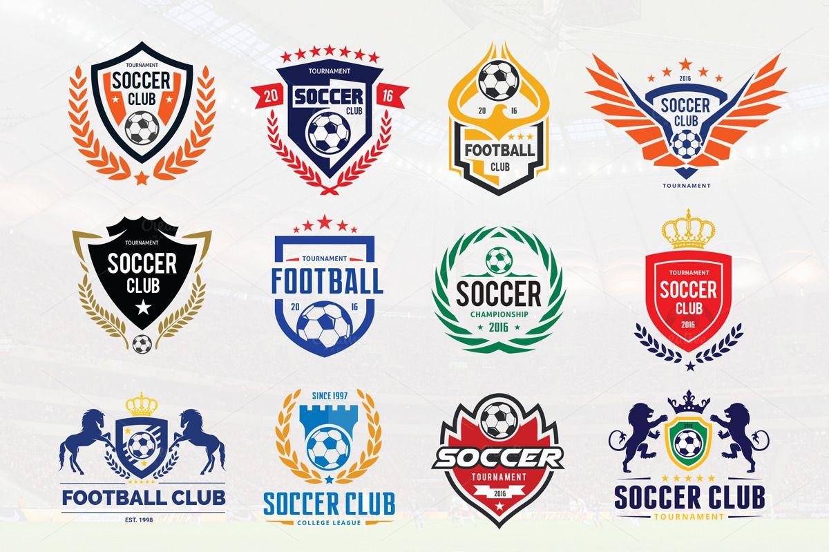 Football Logo Set Vector Psd Football Logo Design Football Logo Soccer Logo