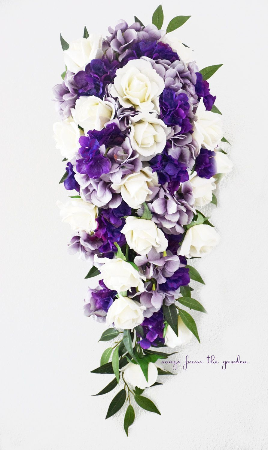 Wedding bouquets teardrop  Cascade Bridal Bouquet Real Touch White Roses Lavender Purple