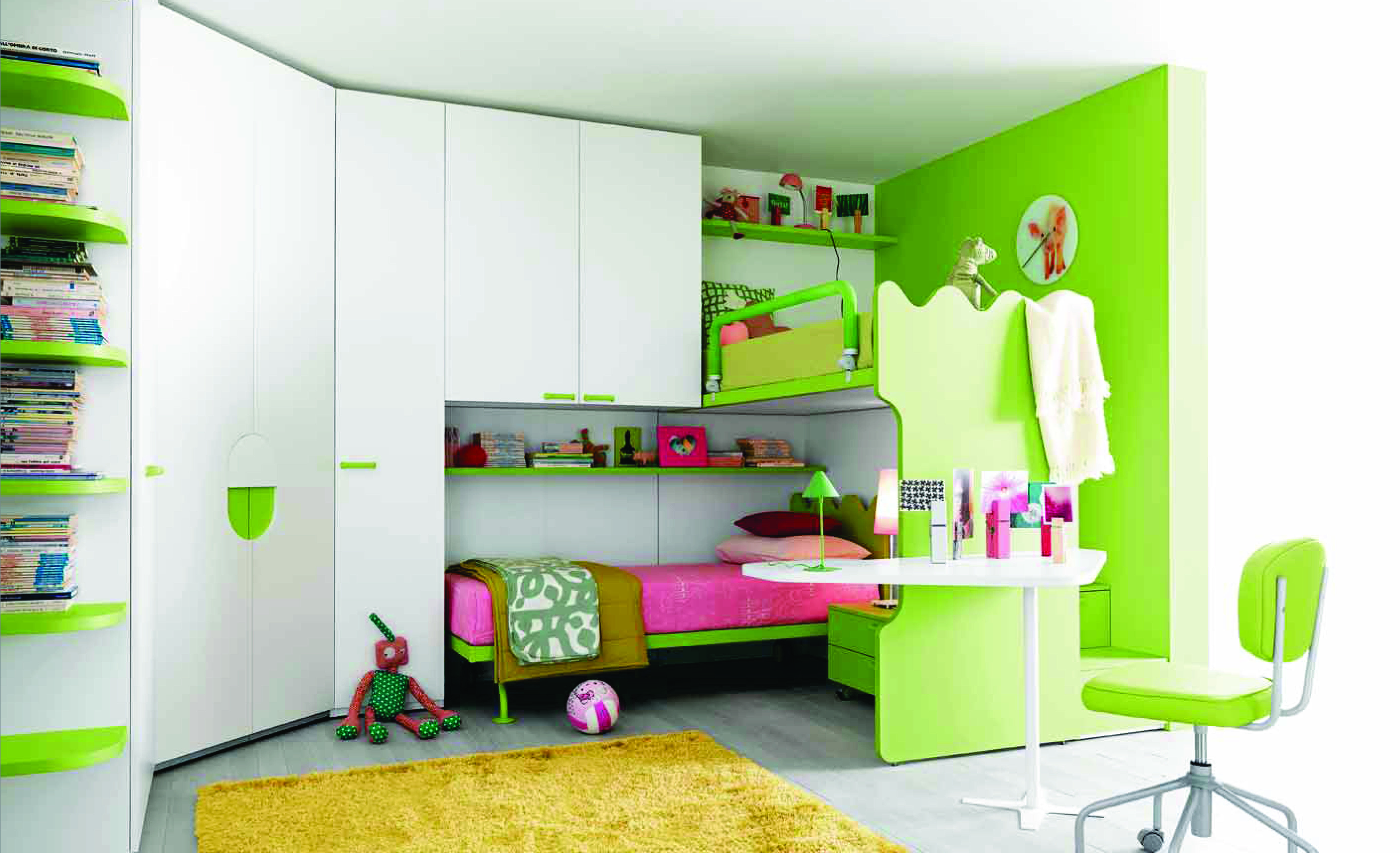 Een voorbeeld van een praktisch ingerichte kinderslaapkamer van