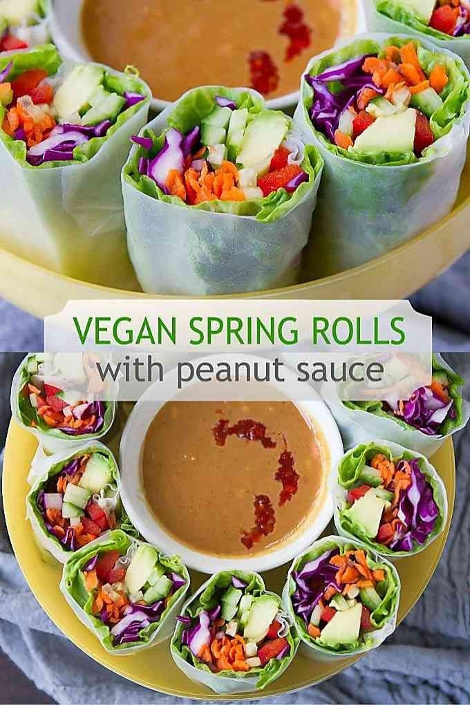 Vegan Spring Rolls with Peanut Sauce - Cookin Canuck