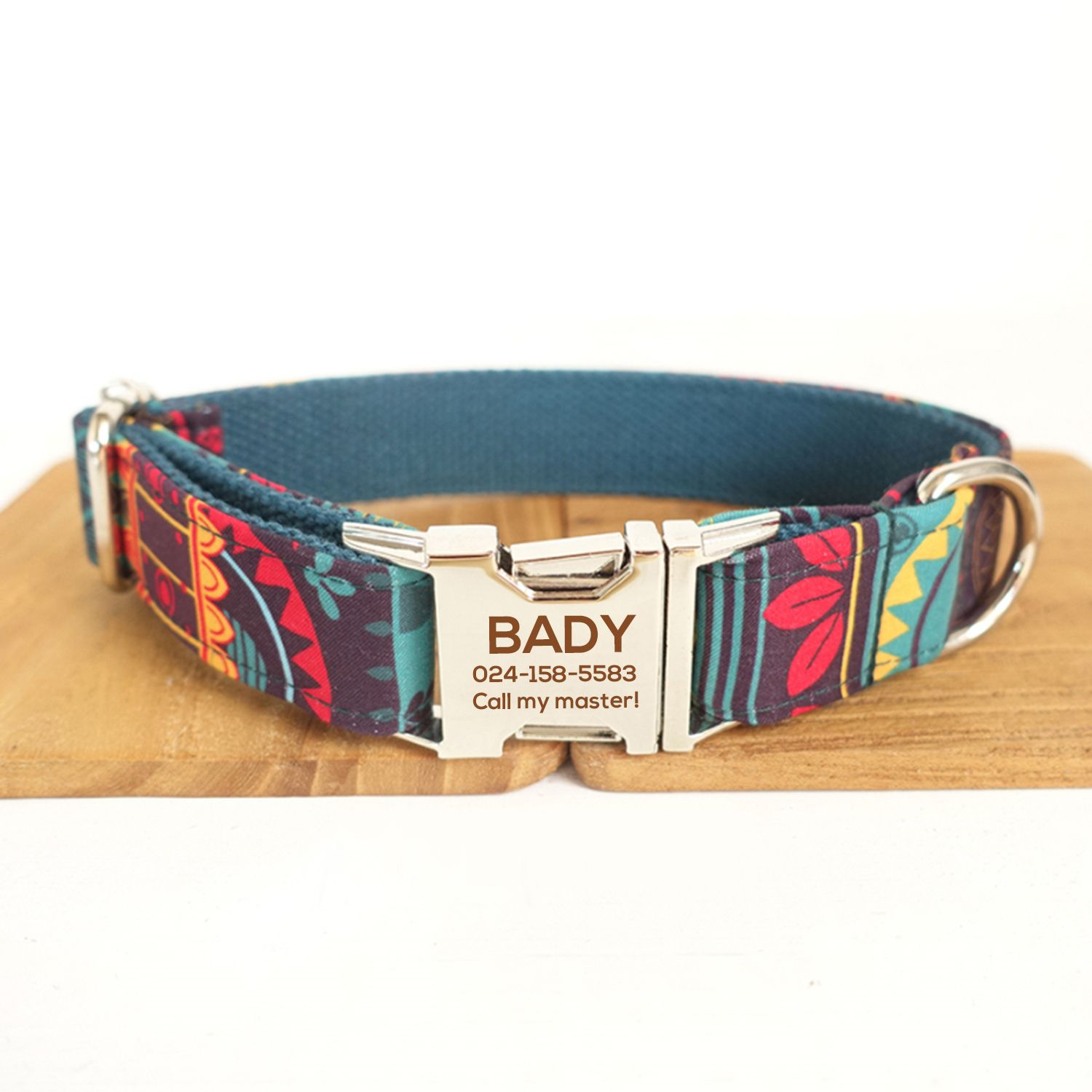 9f529797ed5a Ethnic Style Dog Collar - Custom Dog Collar - Printed Dog Collar and Laser  Engraved Your Dog's Name -DIY Dog Collar- Personalized Dog Collar