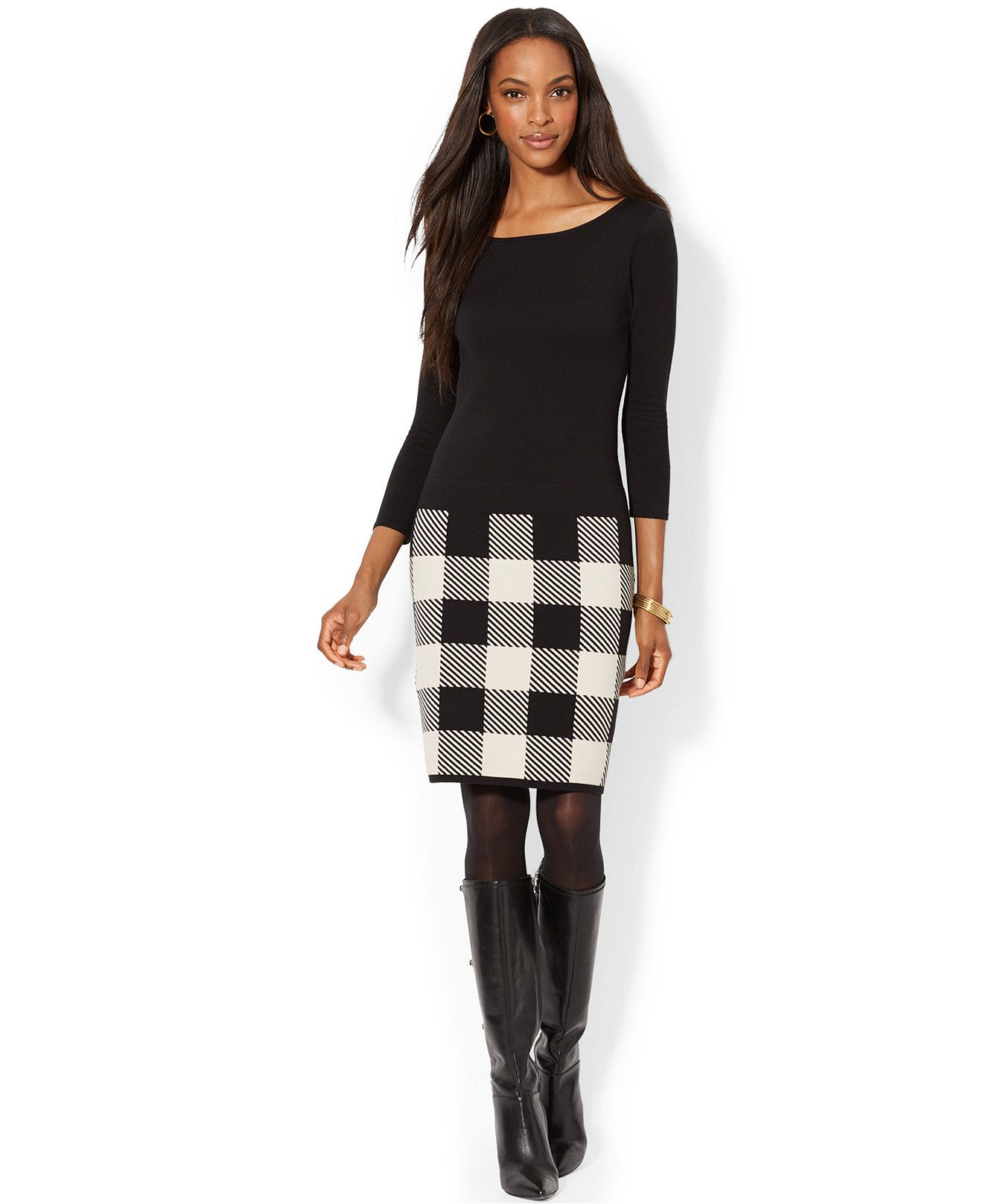 Lauren Ralph Lauren Petite Long Sleeve Plaid Skirt Sweater Dress ...