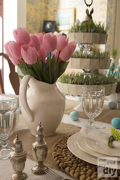EASTER TABLESCAPES   Easter Tablescape at Me and My DIY