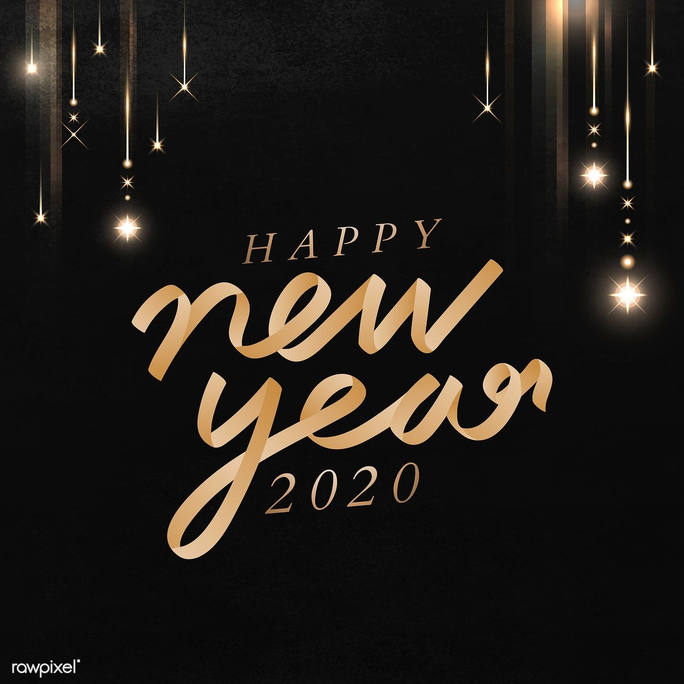 Download Premium Vector Of Happy New Year Black Greeting Card Template Happy New Year Photo Happy New Year Images Greeting Card Template