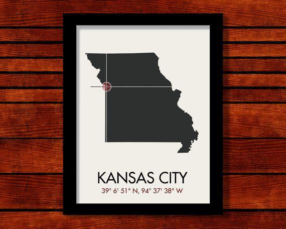 Kansas City Latitude Longitude Map Art City By MrCityPrinting - Latitude and longitude of kansas