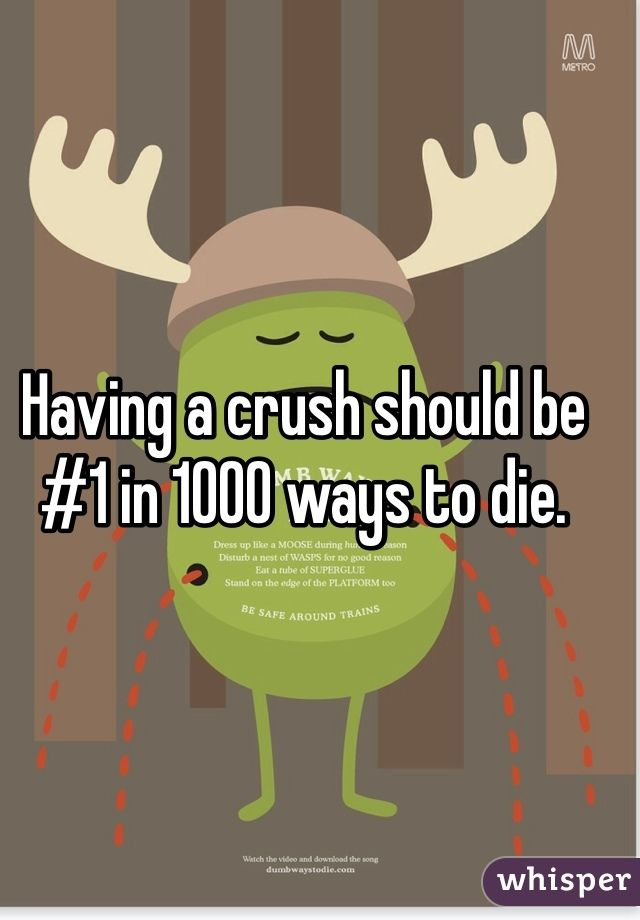 Having A Crush Should Be 1 In 1000 Ways To Die Crush Quotes Having A Crush Songs When You Have A Crush