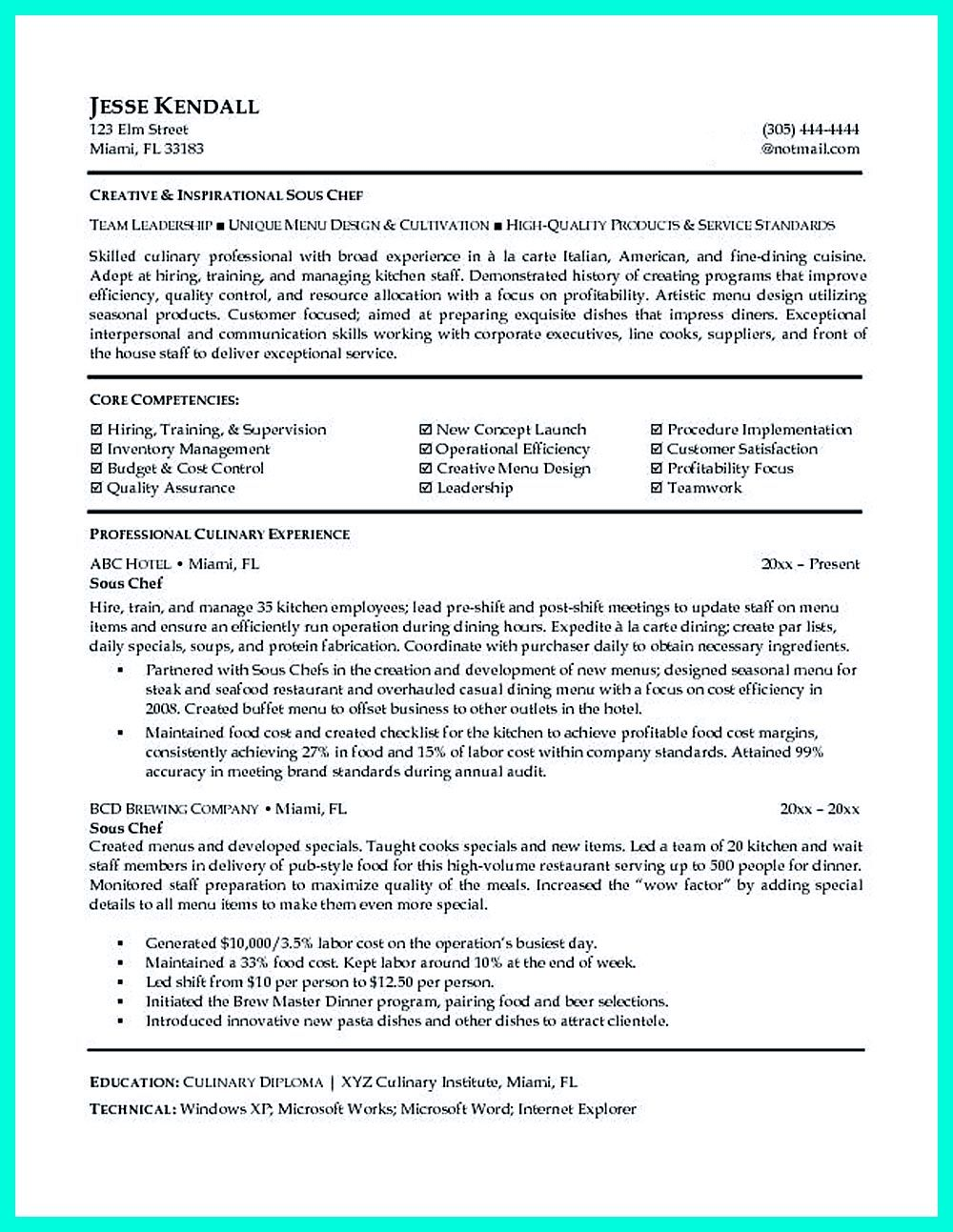 Writing Culinary Resume Is Not That Difficult As You Are Planning A Menu But Yes It Needs Techniques To Make Chef Resume Resume Examples Free Resume Samples