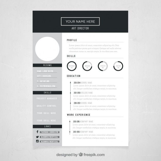 template diretor currículo Art Resume template free, Cv design and