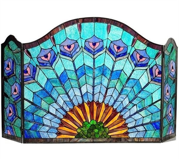 Chloe Lighting Tiffany Glass Peacock 3pc Fireplace Screen Ch1f046gp48 Gfs Glass Fireplace Screen Glass Fireplace Stained Glass Fireplace Screen