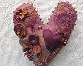 Vintage linen hanging heart by moonmommas on Etsy