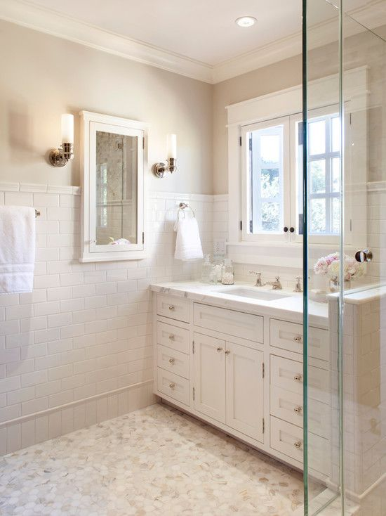 Creamy White Trim Painted Benjamin Moore Atrium White White Bathroom Cabinets With Marble Counterto White Bathroom Cabinets Traditional Bathroom Tile Bathroom