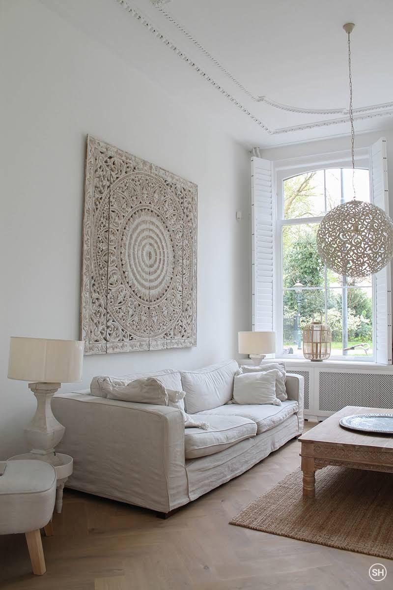 Prachtige blikvanger in de woonkamer: Handgesneden wandpaneel van ...