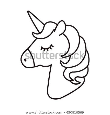 Unicorn vector. Horse head sleep. Colored book. Black and