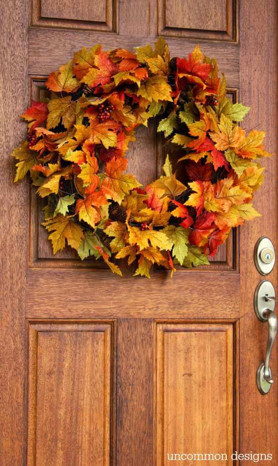 Maple Leaf and Berry 2M LED Autumn Maple Leaf Harvest Halloween Thanksgiving Door Wreath for Front Door with Pumpkins Pinecone Maple Leaf Wreath with Light
