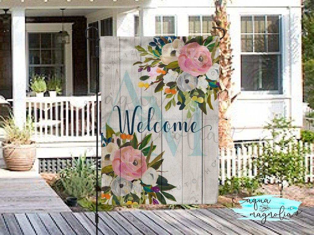 Welcome Garden Flag Floral Roses Custom Yard Flag Home Etsy Garden Flags Ideas Personalized Garden Flag House Flags
