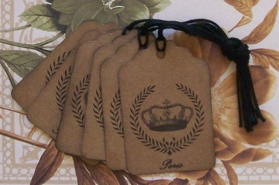 Tags Vintage Style Paris Crown Wreath by bljgraves on Etsy, $4.00