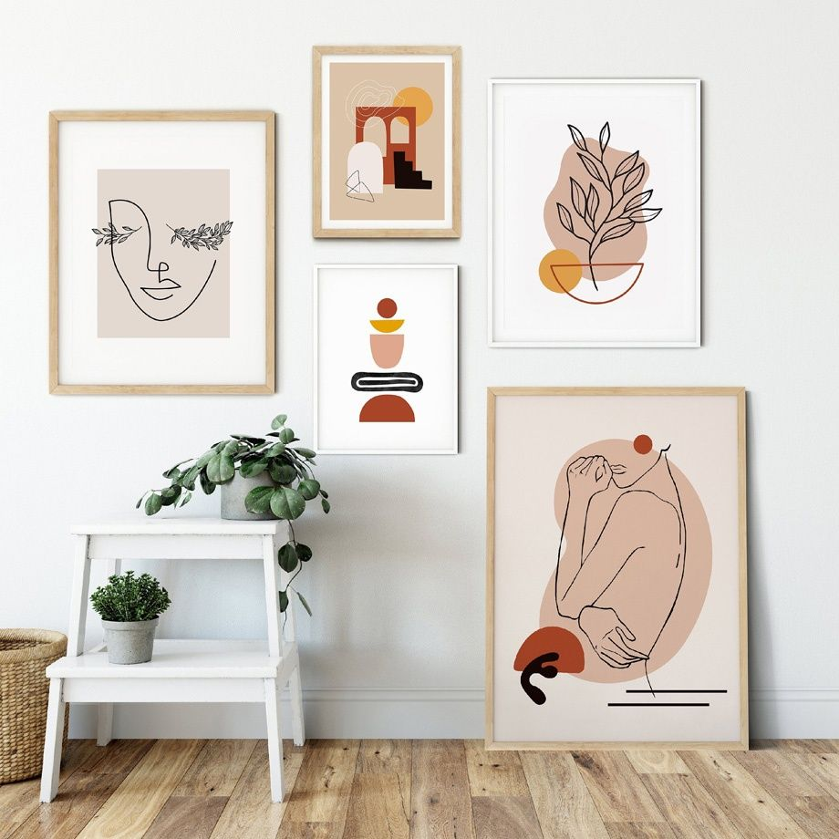 Abstract Line Figures Face Color Blocks Nordic Posters And Prints Wall Art Canvas Painting Wall Pictures For Living Room Decor