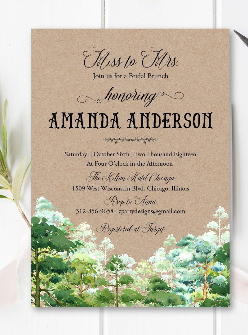 Fall forest invitation rustic bridal shower invitation greenery