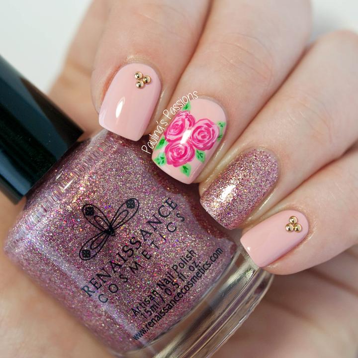 vintage elegance nail art flower rose, diseño de uñas hermosas ...
