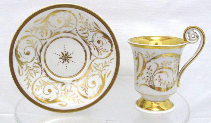 Antique Berlin Porcelain KPM Cup Saucer 1800 1899 Scepter Mark Gilt Yqz
